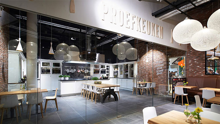 The restaurant within the supermarket illuminated with Philips modern LED lighting