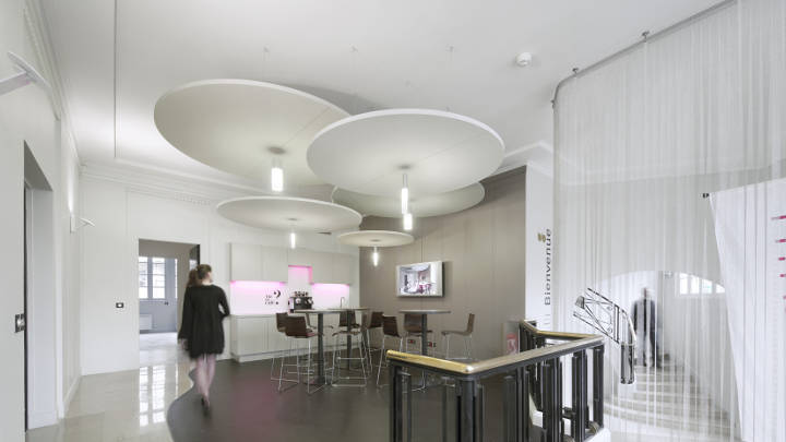 Modern lighting luminaires at the Haworth Showroom