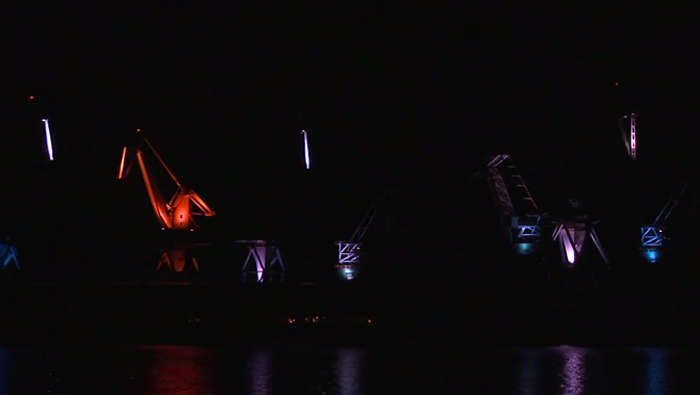 Shipyard cranes - Lighting Giants in Pula by Skira