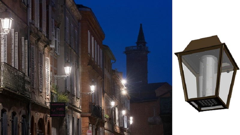 Retaining classical lumina lanterns in the French city of Millau