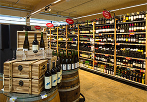 Wine section illuminated by Philips LED lighting