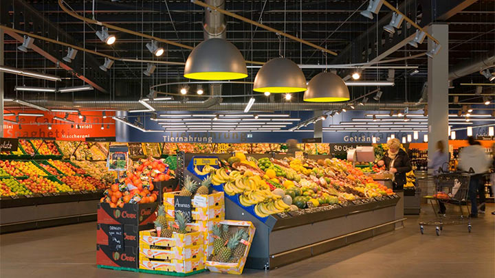 Fruits and vegetables section illuminated with Philips LED lighting