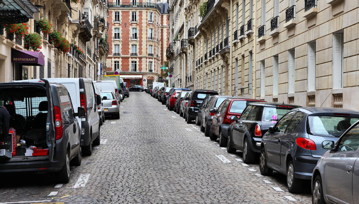 cars on the street city center
