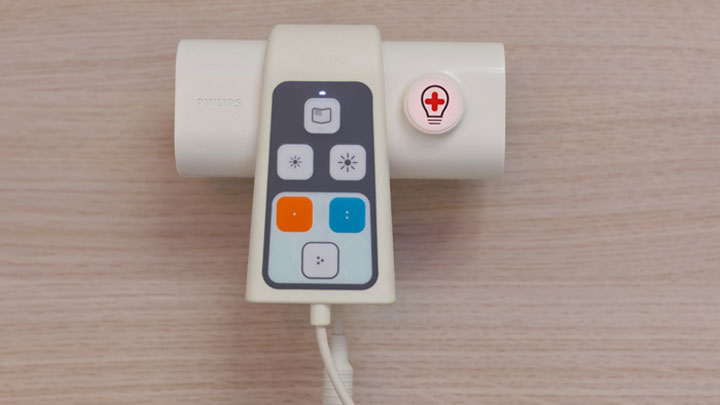 A control in the healwell patient room